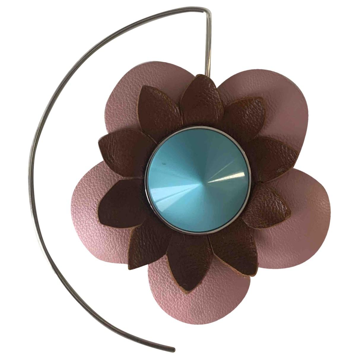 Fendi - Boucles doreilles   pour femme en cuir - multicolore
