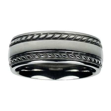 Mens 8mm Titanium Rope-Border Wedding Band, 10 , No Color Family