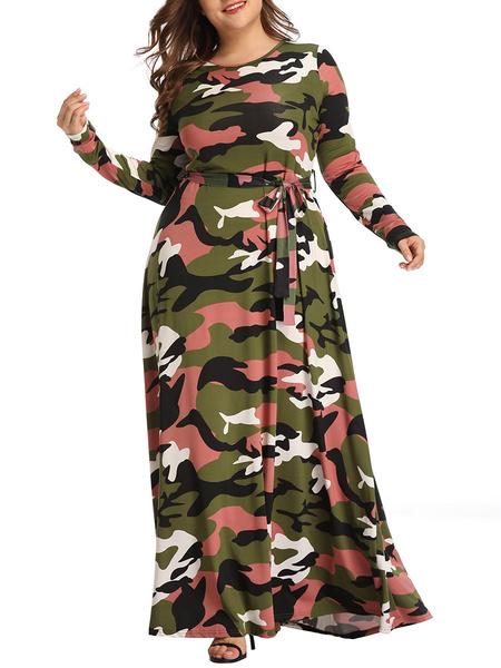 Milanoo Plus Size Maxi Dress Camo Long Sleeve Dress