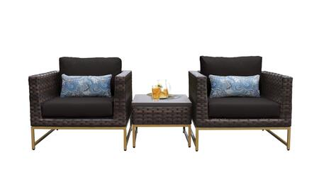 Barcelona BARCELONA-03a-GLD-BLACK 3-Piece  Patio Set 03a with 2 Club Chairs and 1 End Table - Beige and Black Covers with Gold