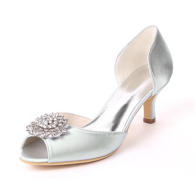 Ericdress Rhinestone Peep Toe Kitten Heel Wedding Shoes