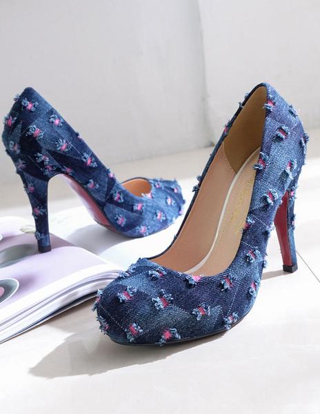 Milanoo Zapatos de plataforma de tela estilo gastado color liso estilo moderno