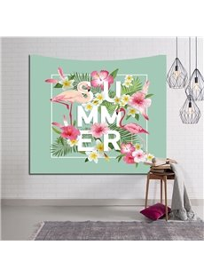 Summer Carnival Flamingos and Tropical Plants Decorative Hanging Wall Tapestry