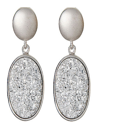 LIMITED QUANTITIES Oval Drusy Quartz Sterling Silver Drop Earrings 1, One Size , No Color Family