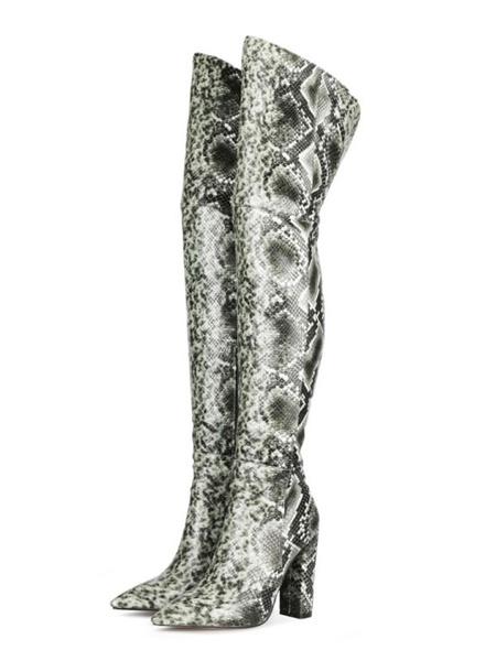 Milanoo Botas por encima de la rodilla Cuero de PU Rosa Punta puntiaguda Estampado de serpiente Tacon grueso Botas altas hasta el muslo