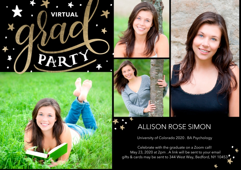 Graduation Invitations 5x7 Cards, Standard Cardstock 85lb, Card & Stationery -Virtual Grad Party Stars by Tumbalina