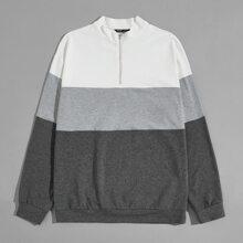 Pullover mit halber Reissverschlussleiste und Farbblock