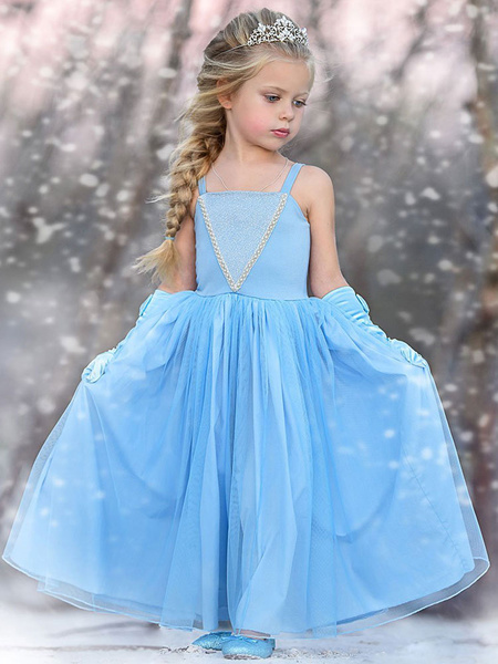 Milanoo Elsa Flower Girl Dresses Square Neck Sleeveless Pleated Kids Party Dresses With Groves