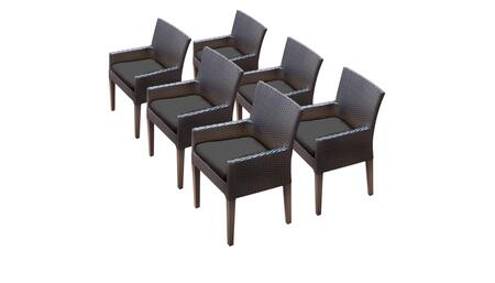 Barbados Collection BARBADOS-TKC097b-DC-3x-C-BLACK 6 Dining Chairs With Arms - Wheat and Black