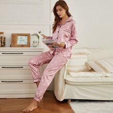 Satin Schlafanzug Set mit Herzen Muster und Kontrast Bindung