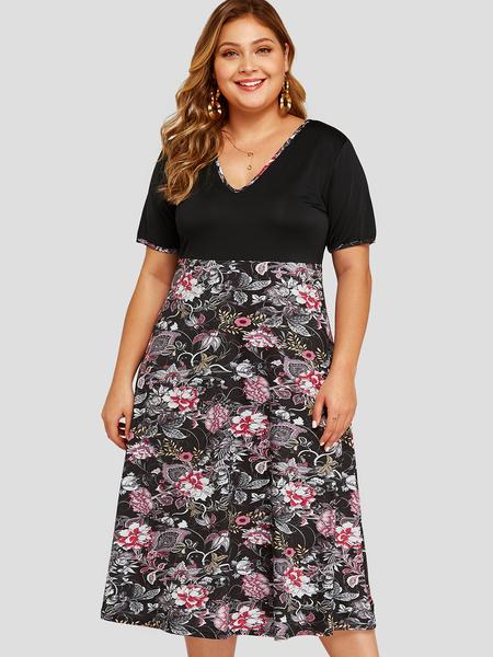 Yoins Plus Size Black Patch Random Floral Print V-neck Dress