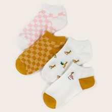 4 Paare Socken mit Karo Muster