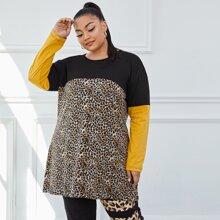 Langes T-Shirt mit Kontrast und Leopard Muster