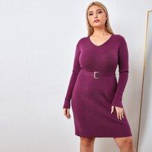 Rippenstrick Pullover Kleid mit Guertel