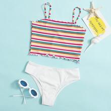 Girls Rainbow Stripe Rib Bikini Swimsuit