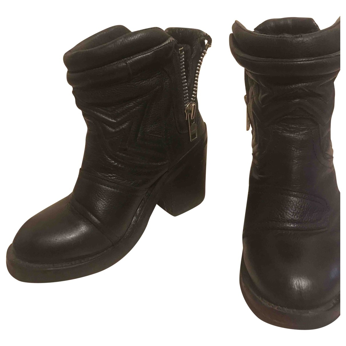 Ash \N Black Leather Boots for Women 37 EU