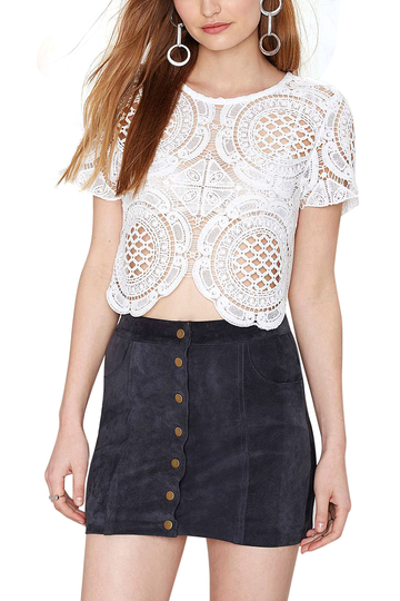 Yoins White Hollow Out Short Sleeve Crochet Top