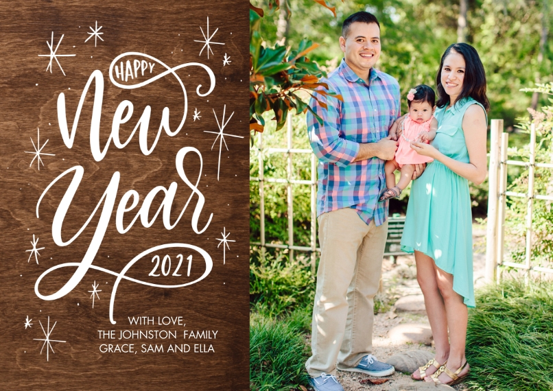 New Year's Photo Cards 5x7 Cards, Premium Cardstock 120lb with Rounded Corners, Card & Stationery -2021 New Year Script by Tumbalina