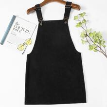 Plus Solid Cord Overall Dress