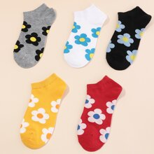 5 Paare Maedchen Socken mit Blumen Muster