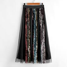 Colorful Sequin Striped Organza Overlay Skirt