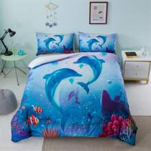 Dolphin Print Bedding Set Without Filler