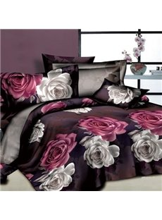 3D White and Red Flowers Printed Cotton 4-Piece Bedding Sets/Duvet Cover