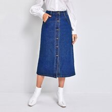 High Waist Button Front Denim Skirt