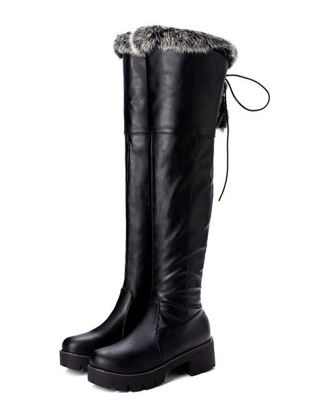 Milanoo Botas altas mujer negro  de PU de tacon de puppy de puntera redonda 5cm Color liso Otoño Invierno Cremallera estilo street wear estilo informa
