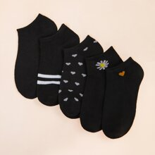 5 pares calcetines con patron de corazon