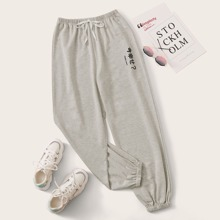 Tie Front Letter Grey Joggers