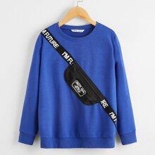 Pullover mit Buchstaben Muster, Band und Taschen Muster