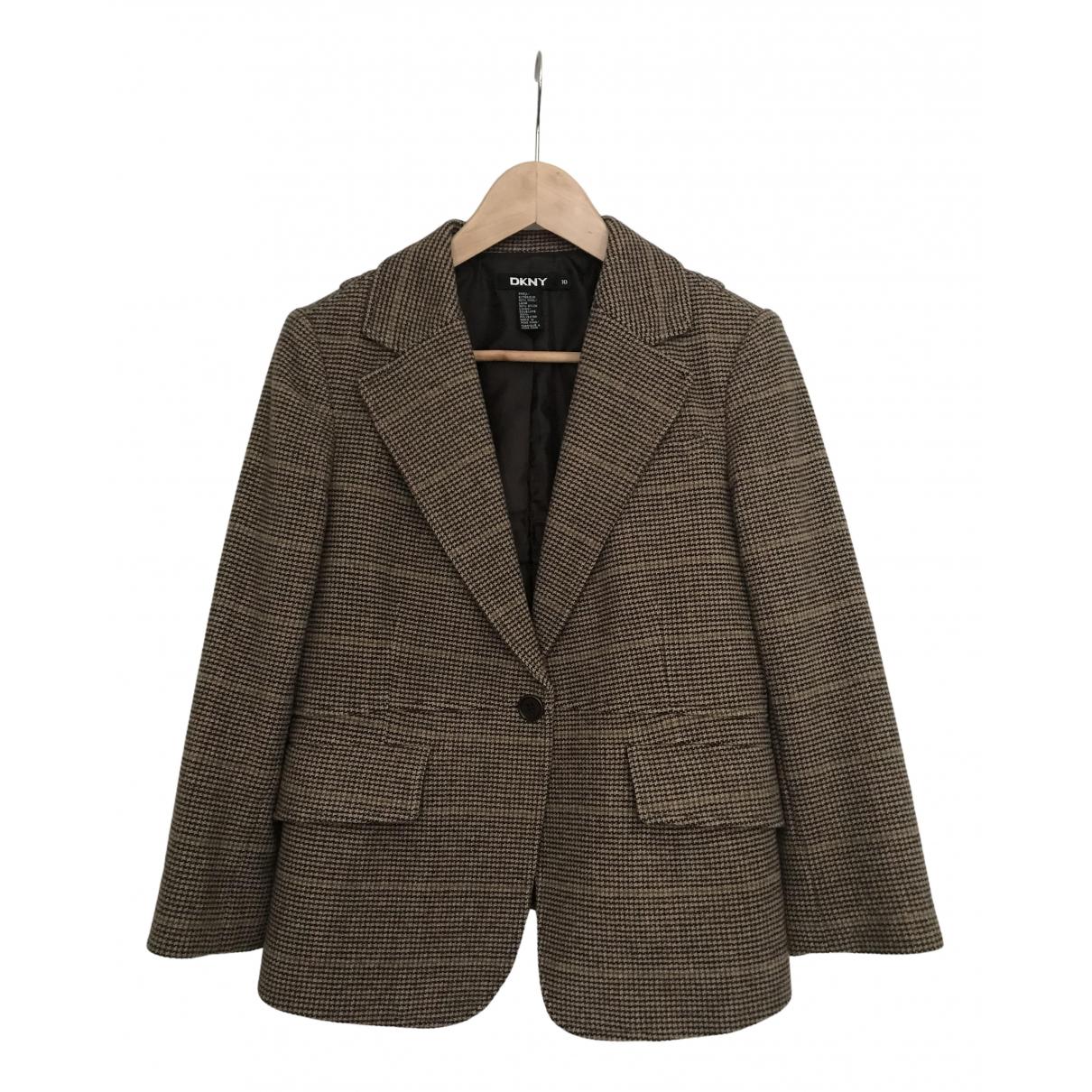 Dkny - Veste   pour femme en laine - marron