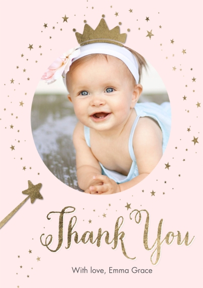 Kids Thank You Cards 5x7 Cards, Standard Cardstock 85lb, Card & Stationery -Thank You Set Princess Gold Sparkle