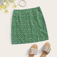 Ditsy Floral Print Split Hem Skirt