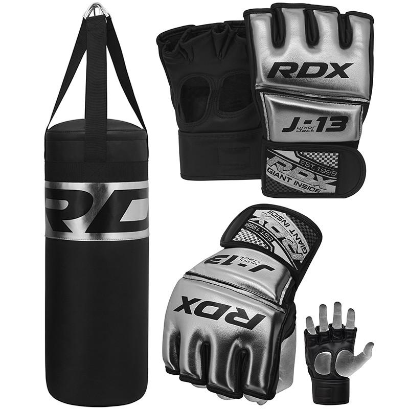 RDX J13 Argent Gants de MMA Grappling et de Ensemble Sac de Box