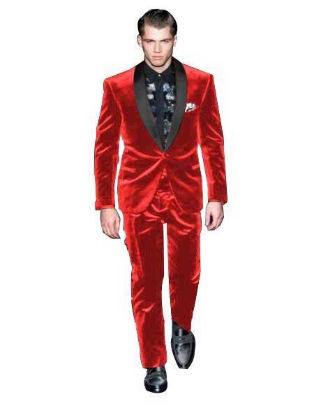 Mens Red Color Tuxedo Shawl Black Lapel Velvet Wedding Party Dinner