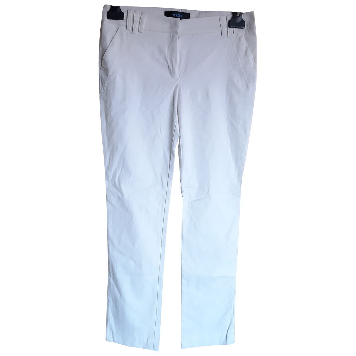 Versus \N White Cotton Trousers for Women 40 IT