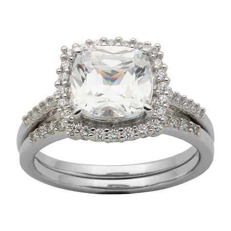 DiamonArt Cubic Zirconia Sterling Silver Cushion-Cut Bridal Ring Set, 10 , No Color Family