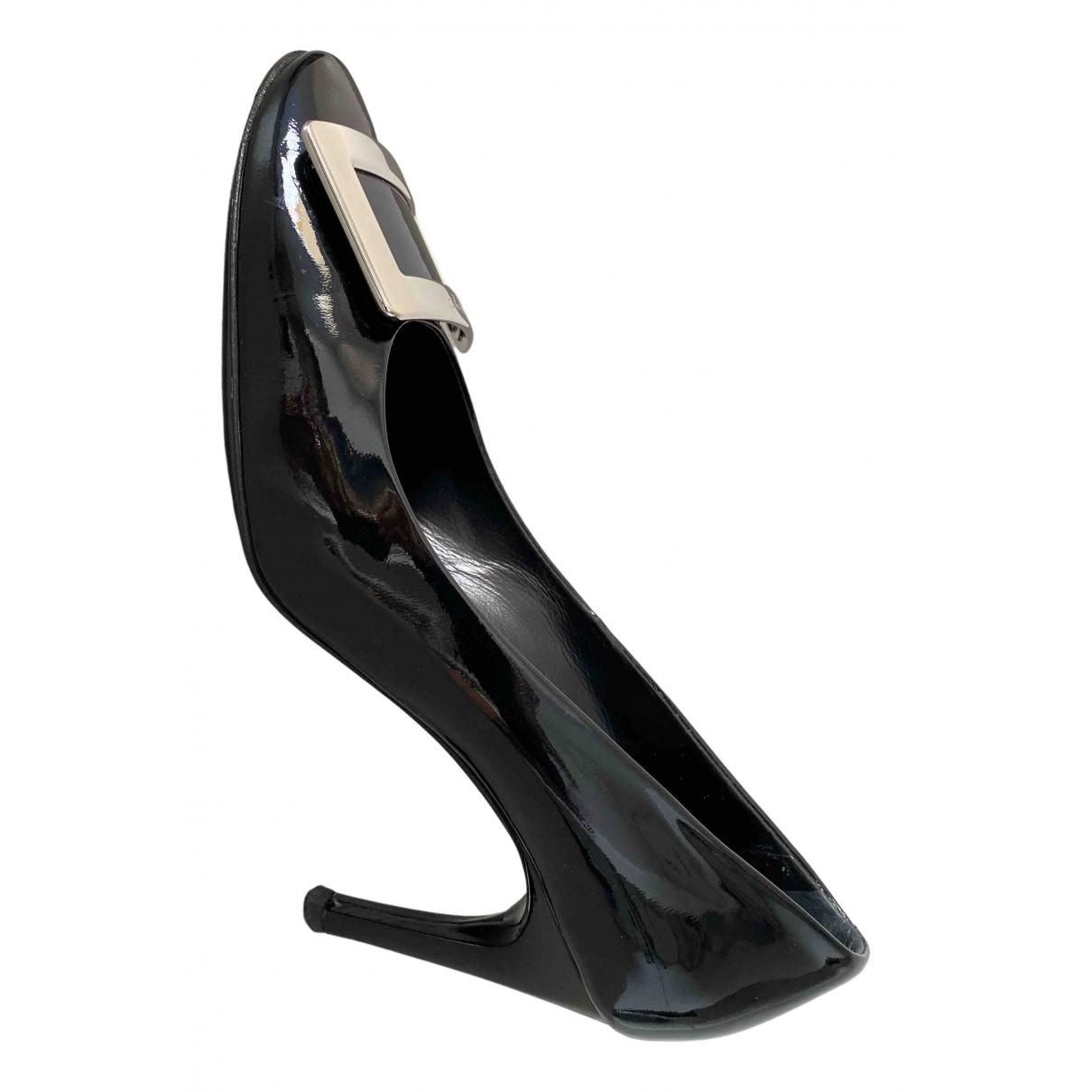 Roger Vivier Belle Vivier Black Patent leather Heels for Women 39.5 EU