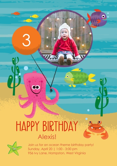 Kids Birthday Party Invites Flat Glossy Photo Paper Cards with Envelopes, 5x7, Card & Stationery -Under the Sea Birthday