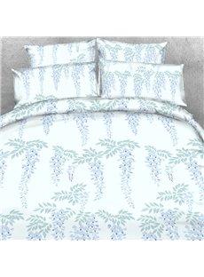 Designer Shallow Purple Strings of Leaves Polyester 4-Piece Bedding Sets/Duvet Cover