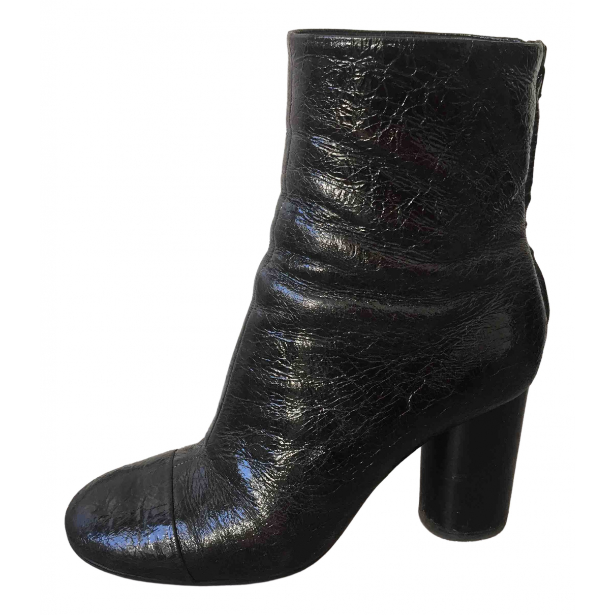 Isabel Marant Garett Black Patent leather Ankle boots for Women 37 EU