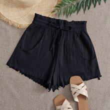 Shorts mit Rueschen auf Taille, Band vorn und umgesaeumtem Saum