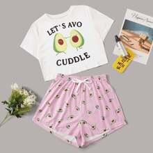 Schlafanzug Set mit Avocado & Buchstaben Muster