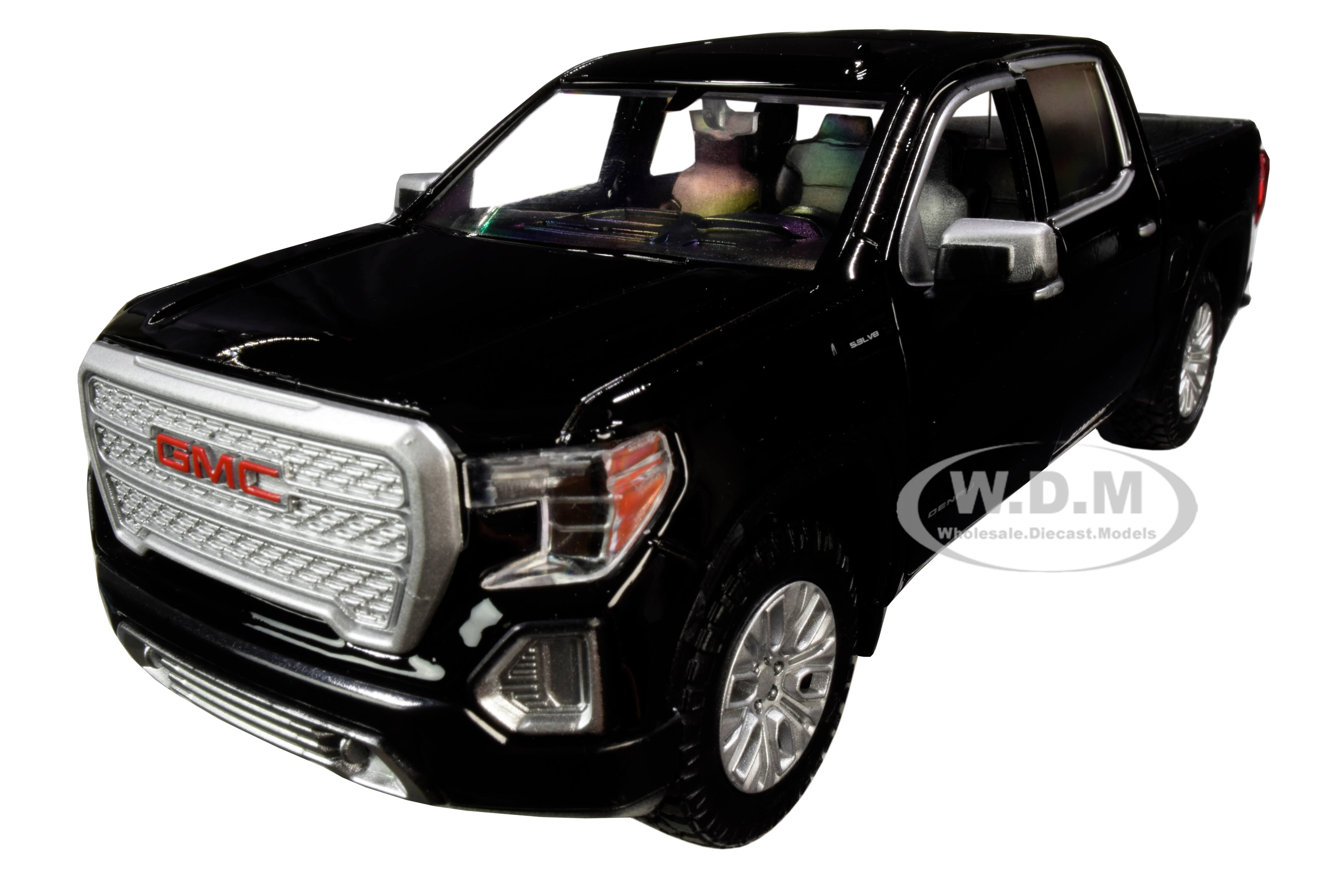 2019 GMC Sierra 1500 Denali Crew Cab Pickup Truck Black 1/24-1/27 Diecast Model Car by Motormax