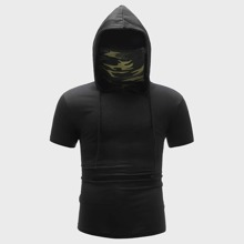 Men Short Sleeve Hooded Tee With Camo Neck Gaiter