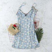 Cami Kleid mit Kontrast Saum, Schleife vorn und Blumen Muster