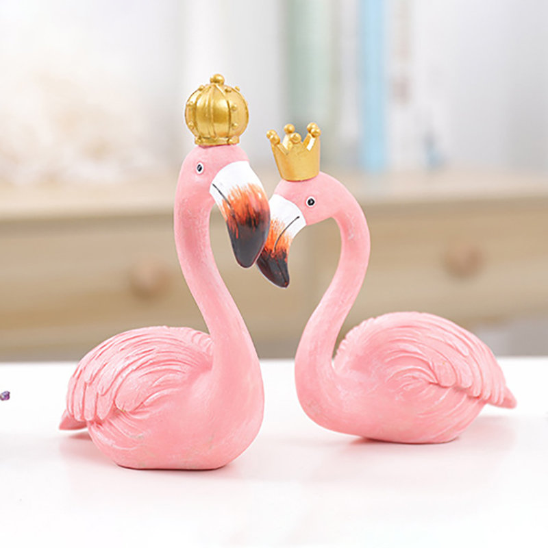 Ins Fashion Desk Decoration Big Flamingo Ornaments Decorative Figurines Home Decor Resin Craft