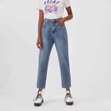 Mom Jeans mit Bleichen Waschung